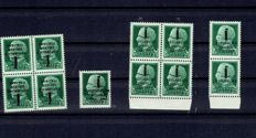 Italy 1944 RSI lot for a study, Ref. Sassone from 491 to 495, 4 values