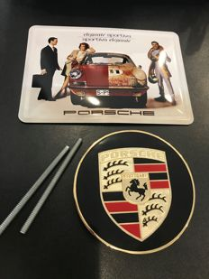 Lot with a Porsche Classic Grill Badge Logo and a Metal postcard