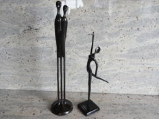2 beautiful bronze sculptures, black patinated, of Swedish artists