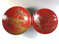 Two lacquered sake dishes (sakazuki) - Japan - Early 20th century