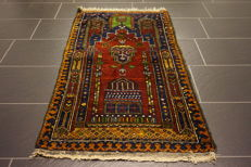 Beautiful antique hand-knotted oriental carpet, Anatolia, prayer rug made in Turkey, Anatolia, 72 x 130cm, carpet Tappeto Tapis