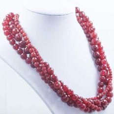 925/1000 Silver - 4 strand necklace of faceted rubies - length 45cm.