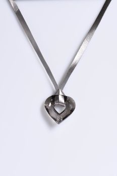Miss U Heart necklace by Manish Arora. Satin on a metallic grey ribbon.