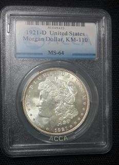 United States -  1 Dollar 'Morgan - 1921 D -Silver