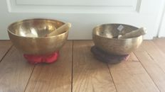 Two singing bowls - Nepal - late 20th century