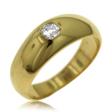 0.15ct diamond Unisex Ring in 18kt yellow gold - Ring size: 52