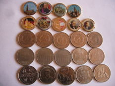 Europe - 2 Euros colorisée emaille et gold plated + 50 centimes euro  ( 9 coins ) + Germany 5 et 10 Marks (15 coins)