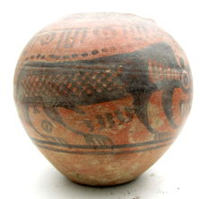 Indus Valley Painted Terracotta jar with Monkey Motif - 110mm x 100mm