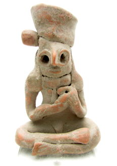 Indus Valley Terracotta Fertility Amulet / Figurine Holding Baby  - 74x47 mm