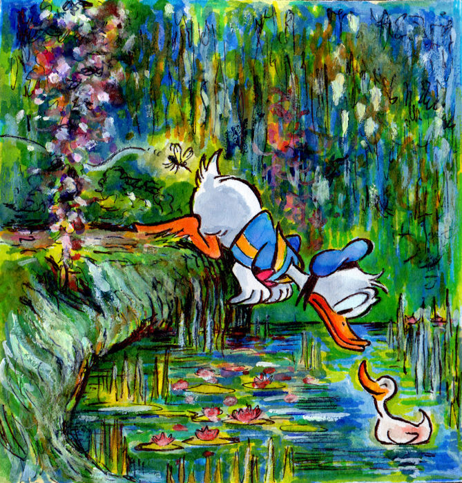 Tony Fernandez - Unique Signed Artwork - Donald Duck inspired by Monet - First edition