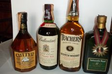 4 bottles - Cutty Sark 12 & Ballantine's 17 & Teacher's Highland Cream & Ambassador 12