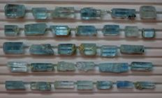 300 Carats Transparent Blue Aquamarine Crystals lot