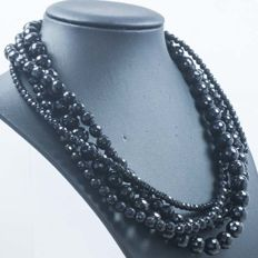 925/1000 Silver - 4 strand faceted onyx necklace - length 45cm.