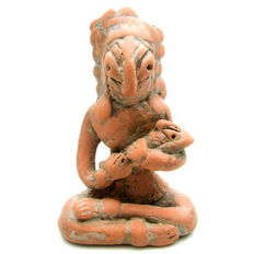 Indus Valley Terracotta Fertility Amulet / Figurine Holding Baby  - 80x55 mm