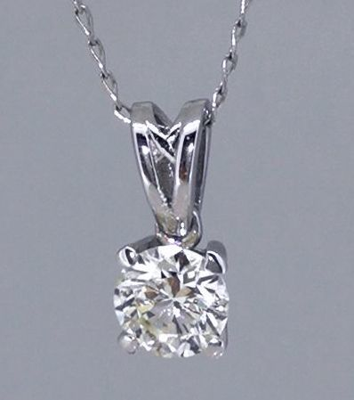 14 kt White gold solitaire pendant with one, 0.33 ct brilliant cut diamond *** No Minimum Price ***