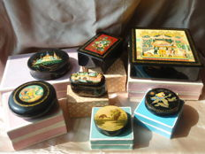 7 hand-painted laqcuer boxes-Russia-20th century