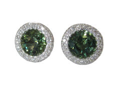 Stud Earrings Halo with Green Sapphires and Diamonds