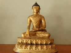 Copper Buddha statue - Nepal - late 20th century