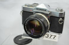 Nice heavy Autoreflex A3 by Konica with equally heavy Hexanon 1.2 57 mm objective