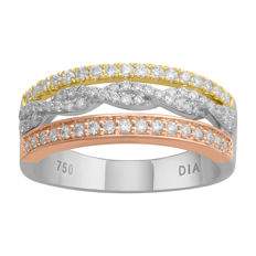 18KT Brand new three tone white, pink and yellow gold eternity ring set with round brilliant diamonds 0.50ct., GH colour and SI clarity in an intricate setting. Size 54/N (free re-sizing in Antwerp)