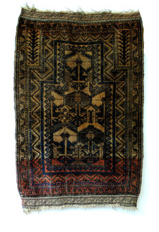 Antique Prayer Rug made by Beluch Nomads, 1880-1900.