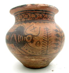 Indus Valley Painted Terracotta Bowl with Bull Motif - 125mm x 120mm