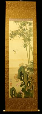 """Bird and Flower"" Hanging Scroll by Oda Kaisen 小田海僊 -Japan- Late Edo Period Ca,1860"