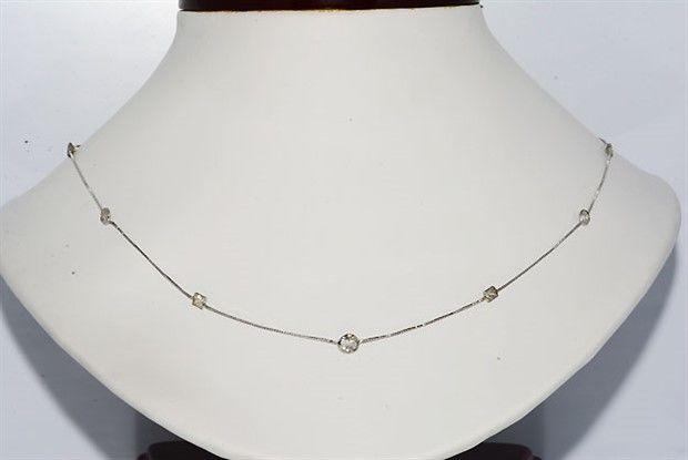 Italy Necklace 14Kt 1.25CT Round & Princess Cut Natural Diamonds - Necklace Length: 18 3/8 Inches