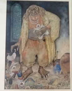 Anton Pieck (1895 -1987) -  De Reus - 1943-1954 - from the series One Thousand and one nights