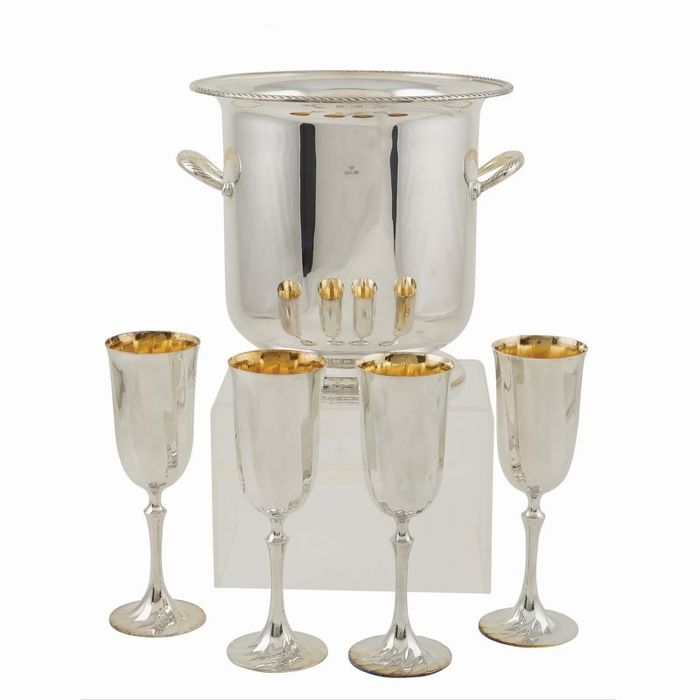 Cesa1882 wine cooler in silver metal with 4 glasses