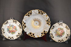 3 beautiful antique breakthrough worked plates from Carl Tielsch Bayou