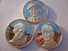 Big painters of the Spanish history – Lot of 3 medals – Silver 999/1000