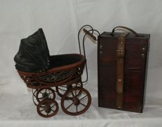 Lot with 2 decorative pieces, old dolls pram and an old wine box, 2nd half of the 20th century, France