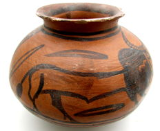 Indus Valley Painted Terracotta jar with Bull Motif - 150mm x 120mm