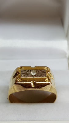 18 kt yellow/white gold men's ring set with zirconia – size 18.5