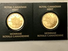 2 pieces: Golden Maple Leafs 2016 in seal with certificate.