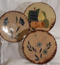 3 trays in terracota, made by ceramic artists, everything is handmade. Italy.