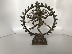 Bronze statue of the Shiva Nataraja in a wreath of fire - India - second half 20th century