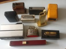 10 old table lighters on gas and petrol.
