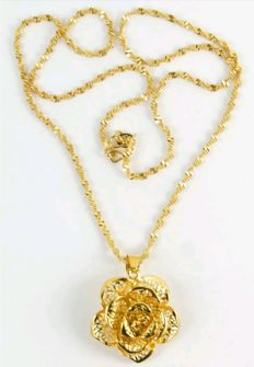 Women's necklace with pendant in 24 kt / 999 gold