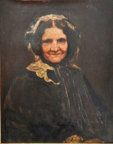 Late 19th Century English School - Retrato de una Señora mayor