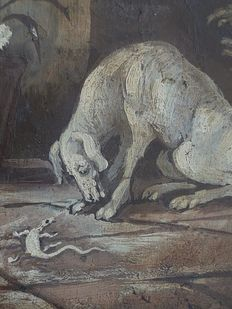 Unknown artist - Dog with lizard - 18th century
