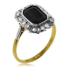 Onyx and Diamond 'Entourage' Ring in Mint Condition.
