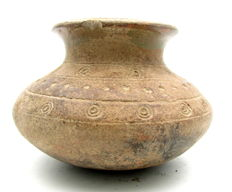 Indus Valley Painted Terracotta Jar with Sun Symbol Motif - 135x90mm