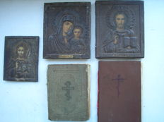 Three 20th century ortodox russian icons Kazan Virgin and Jesus Christ and two prayer books