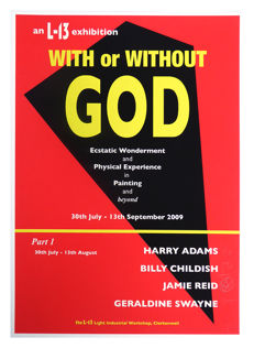 Jamie Reid, Billy Childish, Geraldine Swayne, Harry Adams - With Or Without God Exhibition Posters (Part 1 and 2)
