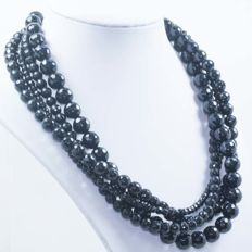 925/1000 Silver - 4 strand faceted onyx necklace - length 45cm - No reserve.