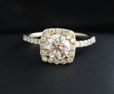 NGL - Diamond Halo Ring 1.66CT - 14KT Yellow Gold - Size 6.5