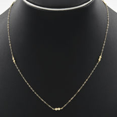 Yellow gold 18 kt/750 - Choker - Diamonds - Length of the chain: 45 cm