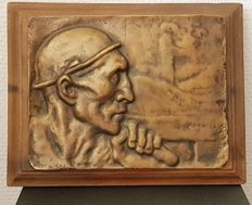 Bronze relief ' miner ' on wood - Constantin Meunier - France - first half of 19th century